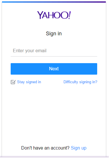 Yahoo Mail Account Signup
