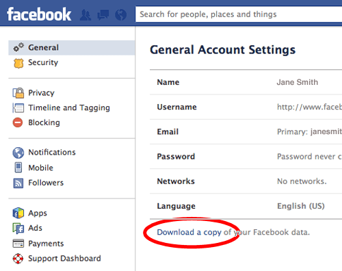 Facebook Account General Settings
