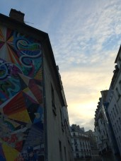 A mural at dusk in the 10eme