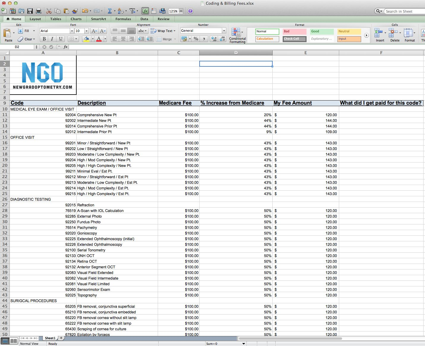 Setting Fees At Your Optometry Practice Free Spreadsheet