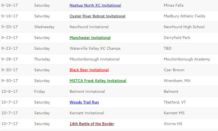 2017 Invitational Schedule