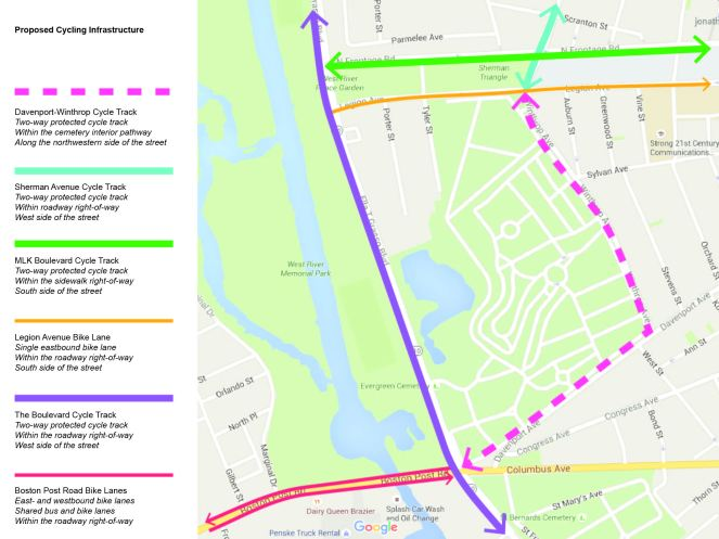 Map of proposed cycling infrastructure around the Boulevard