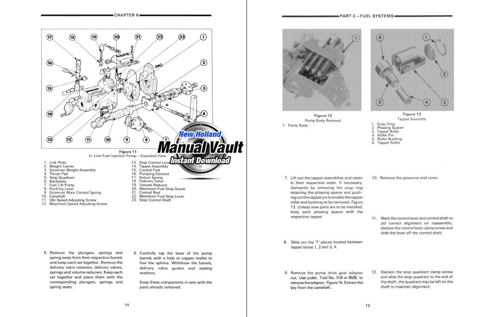 Ford Series 10 & Series 30 Tractor Service Manual (6 Volumes) Sample
