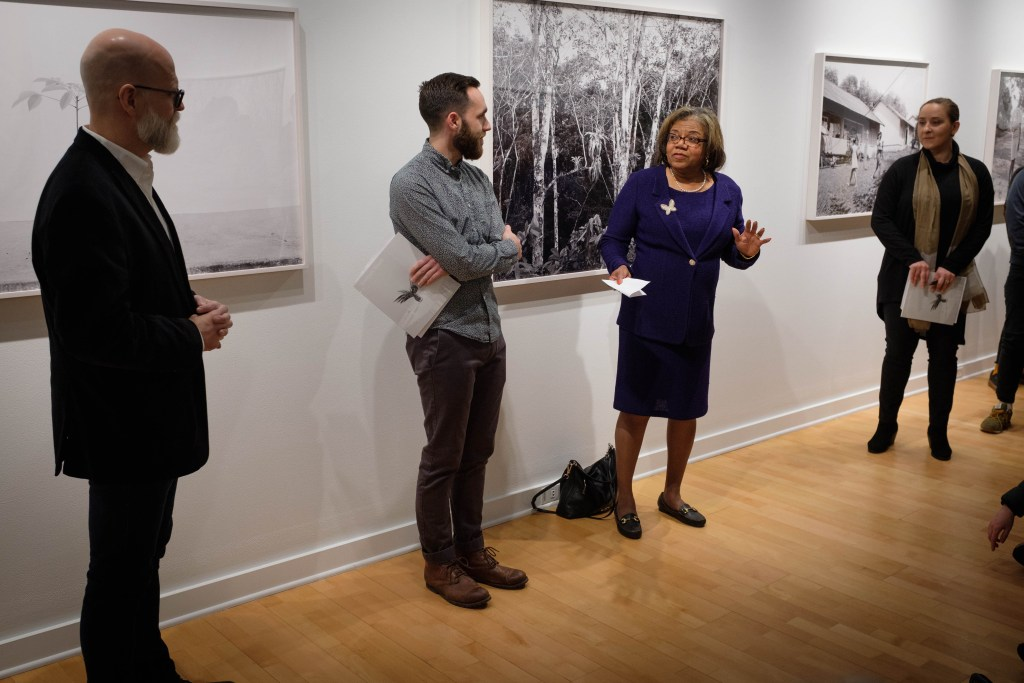 Newhouse MPD student show at Light Work with Dean Lorraine Branham talking.