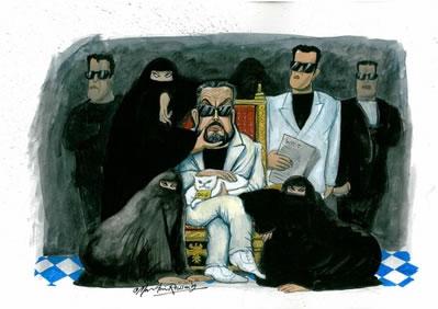 Martin Rowson's illustration of Adnan Oktar and his gang