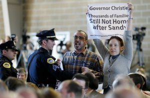 NJOP members at Governor Christie Protest
