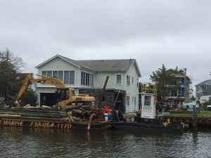 Waterfront home under construction