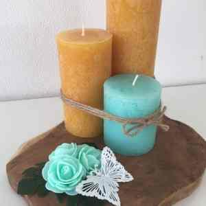 décoration maison handmade plateau 3 bougies