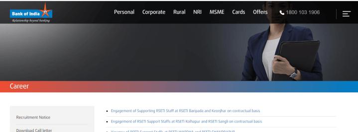 boi recruitment 2020 for rseti keonjhar