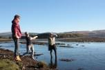 Sandy Ruaridh & Harriet, skipping rocks