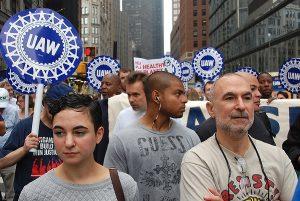 UAW members marching