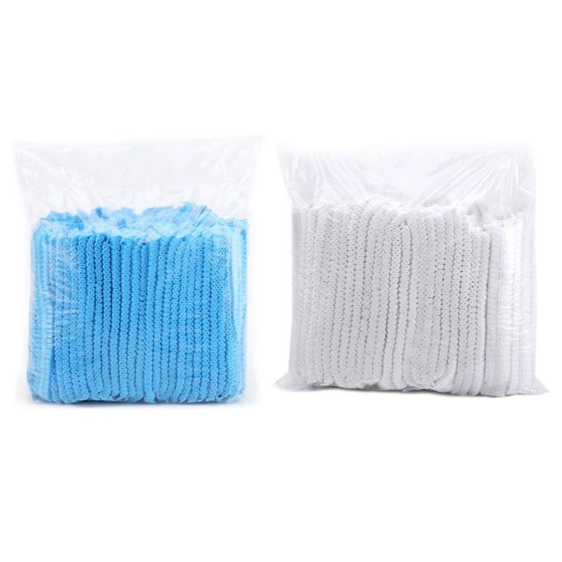Disposable Nonwoven Mushroom Cap Blue 100 Pcs