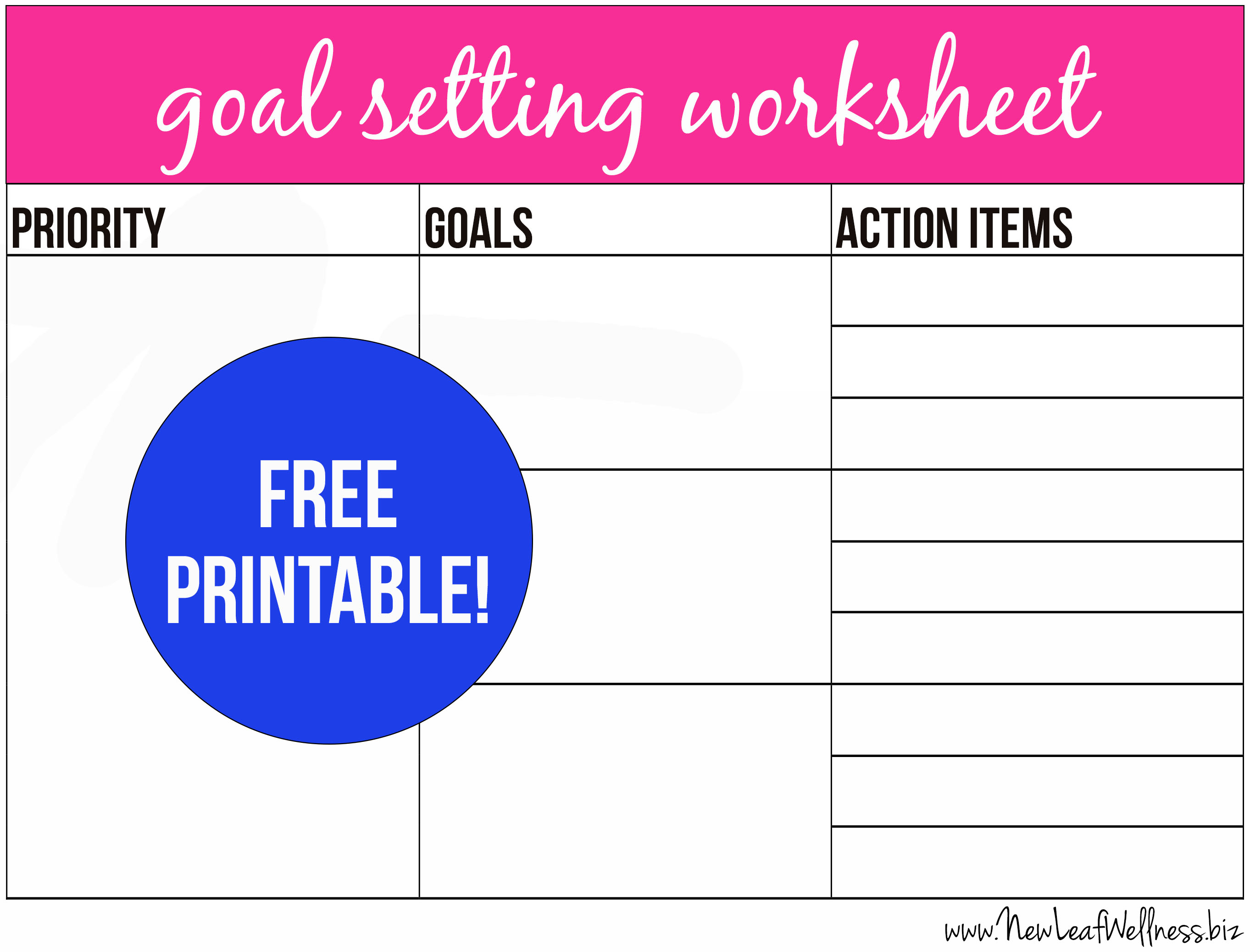 Free Printable Goal Setting Worksheet And Instructions
