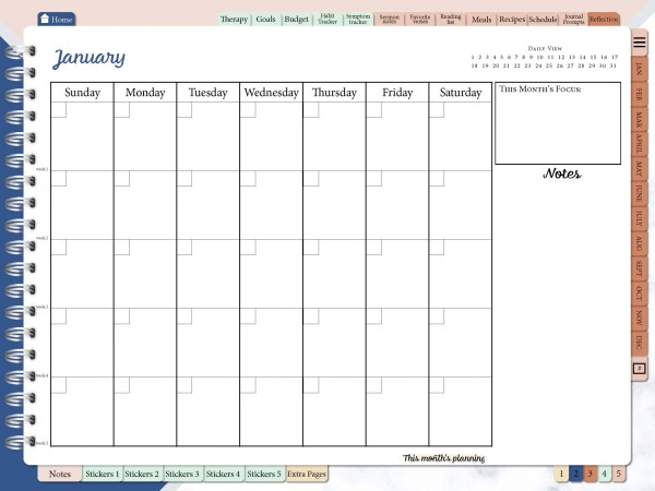 Ultimate-undated-planner-monthly view-digital- reflection-dr don-newlife-counseling