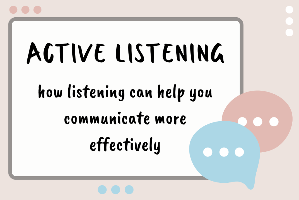 A rectangle with words in the center that read, Active Listening, how listening can help you communicate more effectively. Two comment speech bubbles in the bottom corner.