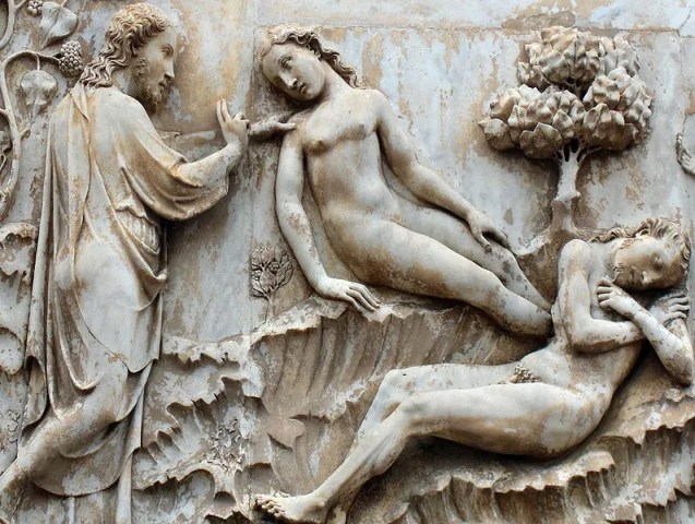 Genesis: Creation of Eve; marble relief on the left pier of the façade of the cathedral; Orvieto, Italy. Copyright Georges Jansoone 2008; source: wikipedia.