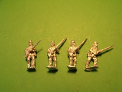 Infantry in Kepi, Sack Coat & Blanket Roll, Advancing