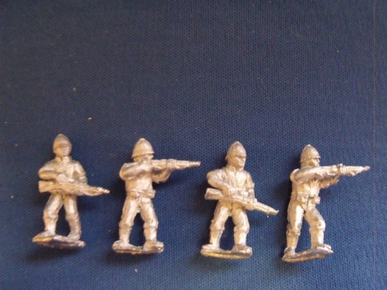 Infantry in Shirtsleeves and Pith Helmet Advancing