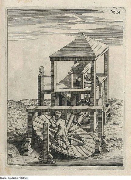 Image 3: This illustration, from an unknown source or period, shows a tread mill, a form of human powered mill. Image source: Wikimedia Commons