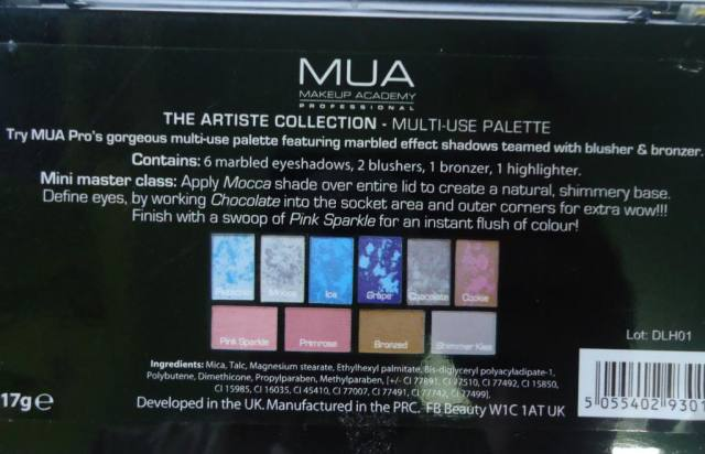 MUA (Makeup Academy) Artiste Collection Palette Review, Swatches