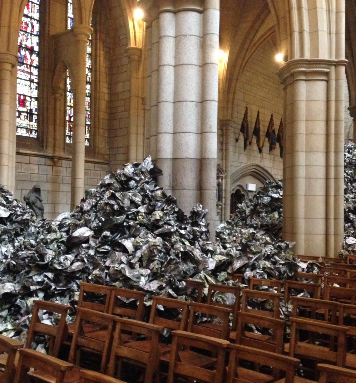 Part of the Imran Qureshi installation in Truro Cathedral
