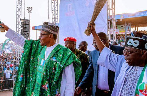 Image result for Buhari, Tinubu apc rally