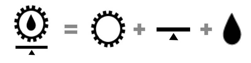 Combinación de símbolos de maquinaria pesada