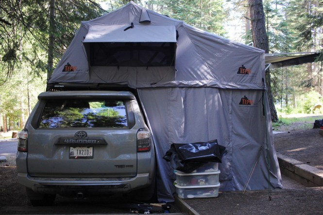 best camping spot at sagehen campground, camping with toddlers, idaho camping, sagehen reservoir, tepui tent, 4runner trd pro, rooftop tent