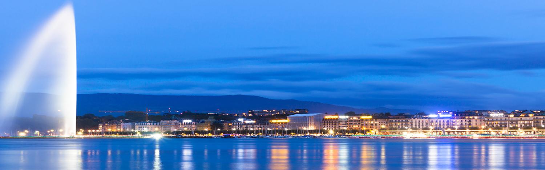 lake geneva Switzerland Night