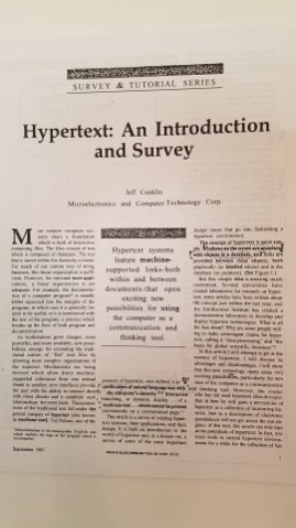Hypertext: An Introduction and Survey by J. Conklin