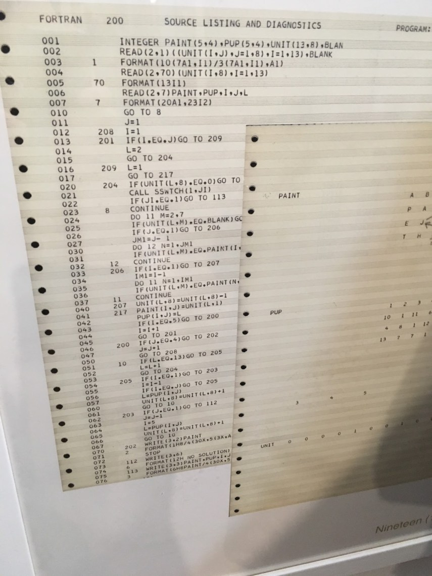Source Code to a Computer Program and some AscII art on old style printer paper