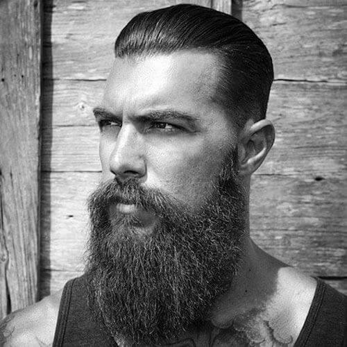 Slicked Back Hair with Long Full Beard style