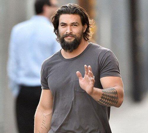 Long Brushed Back Hair + Long Manly Beard style