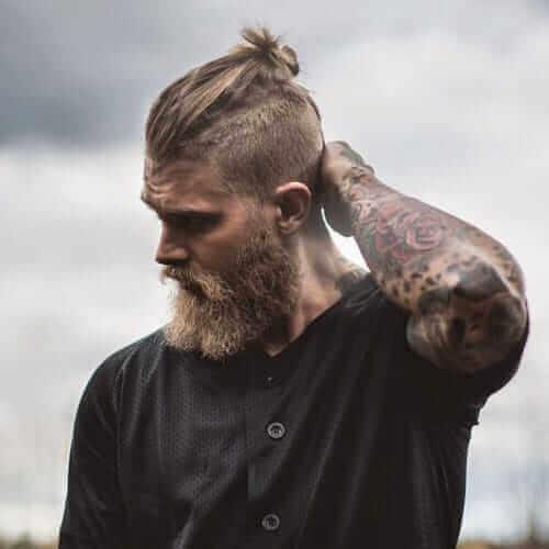 Top Knot + Undercut + Lumberjack Beard Style