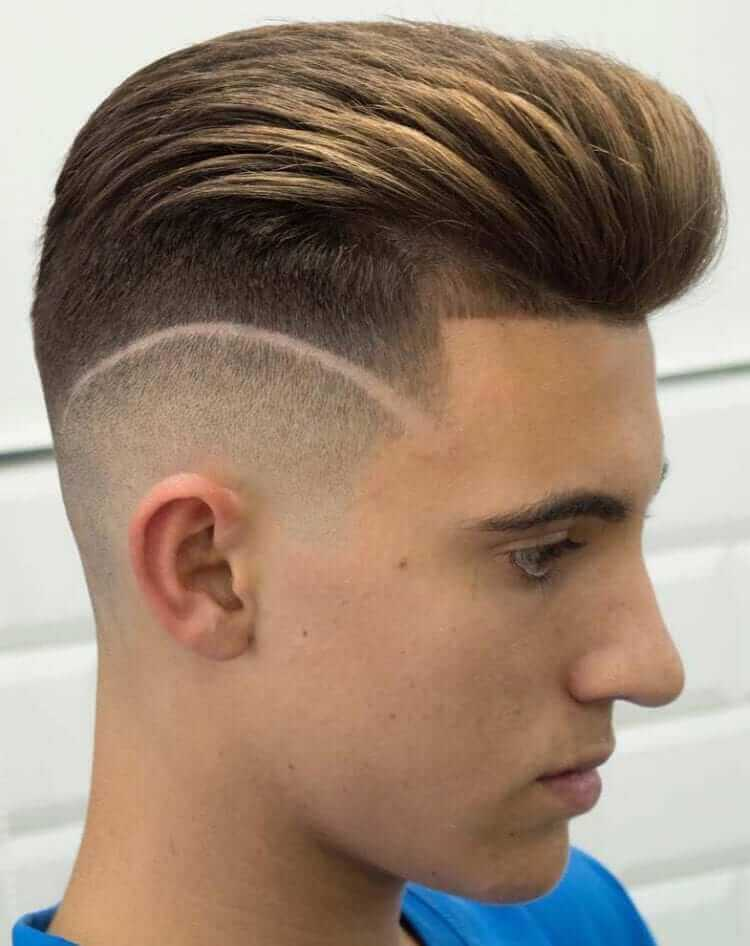 Line up and Disconnected Fade with a Pompadour