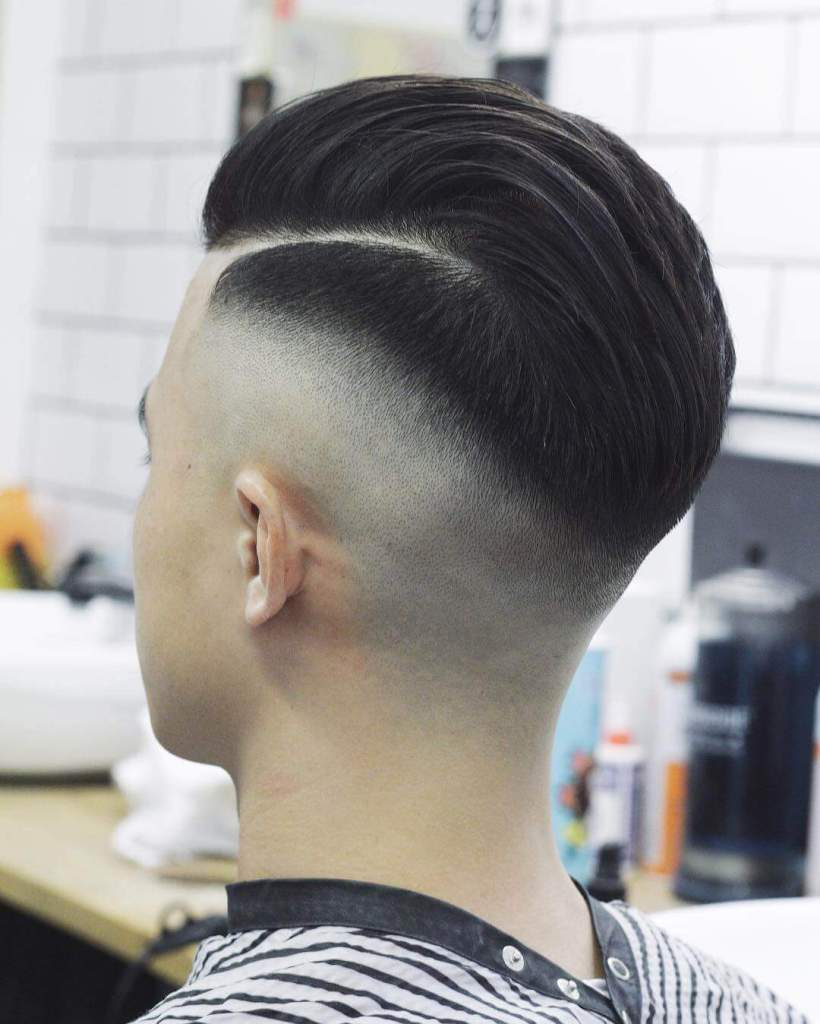 Side Part Pompadour + Mid Skin Fade