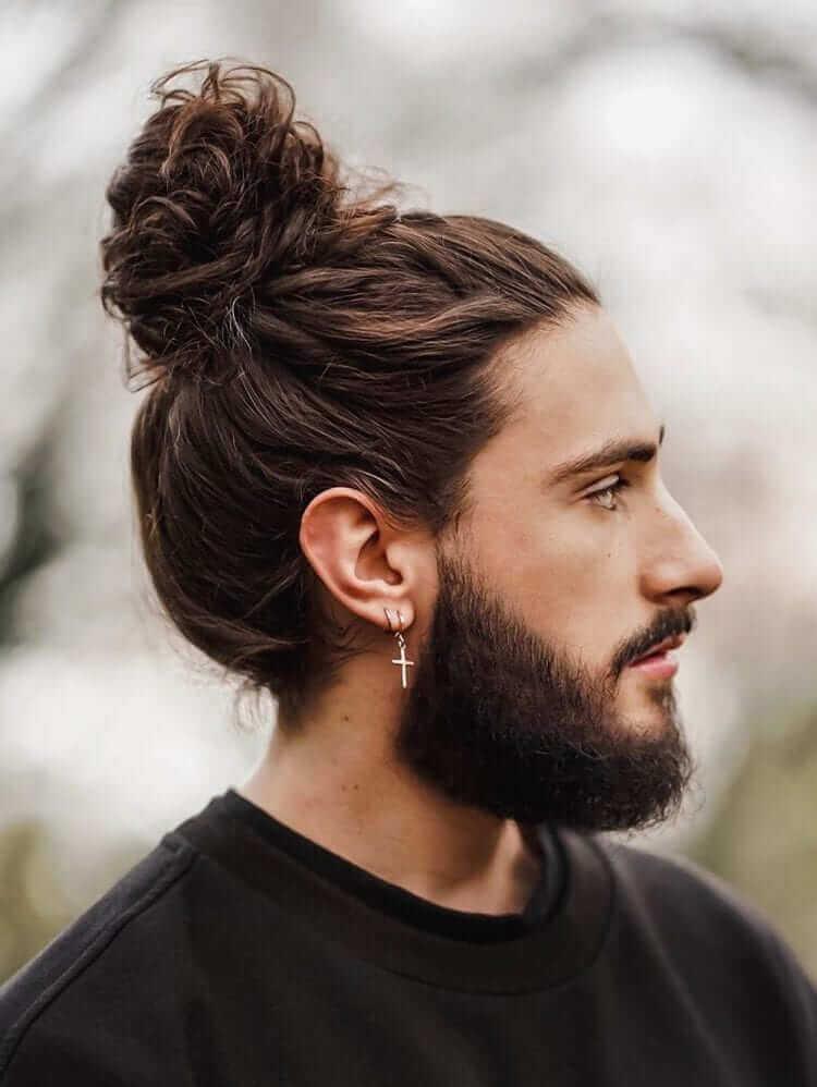 Man Bun with Beard Styles