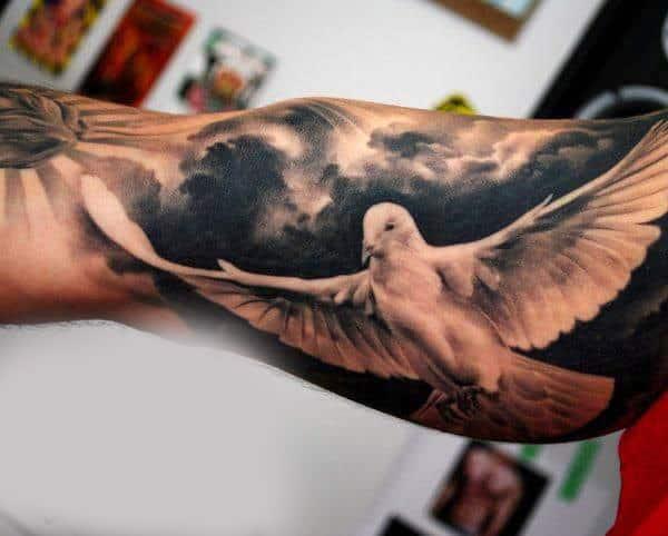 birds flying tattoo