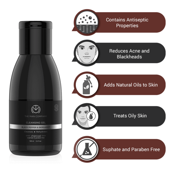 The Man Company Charcoal Cleansing Gel With Bergamot & Black Pepper