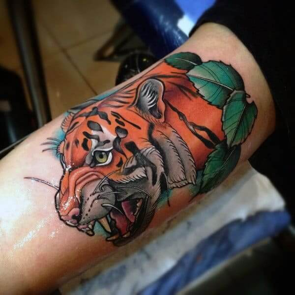 Colored biceps tattoo