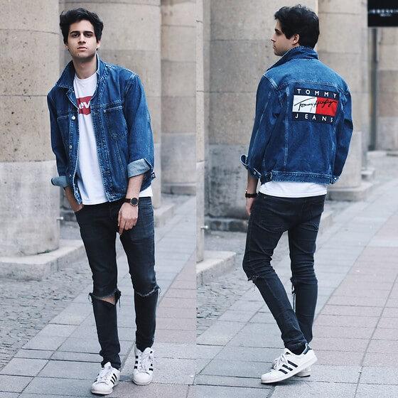 dark blue denim shirt combination