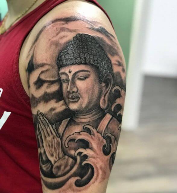 religious inner bicep tattoos for men