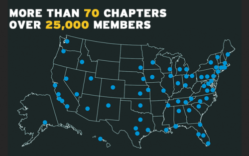 More than 70 chapters, over 25,000 members