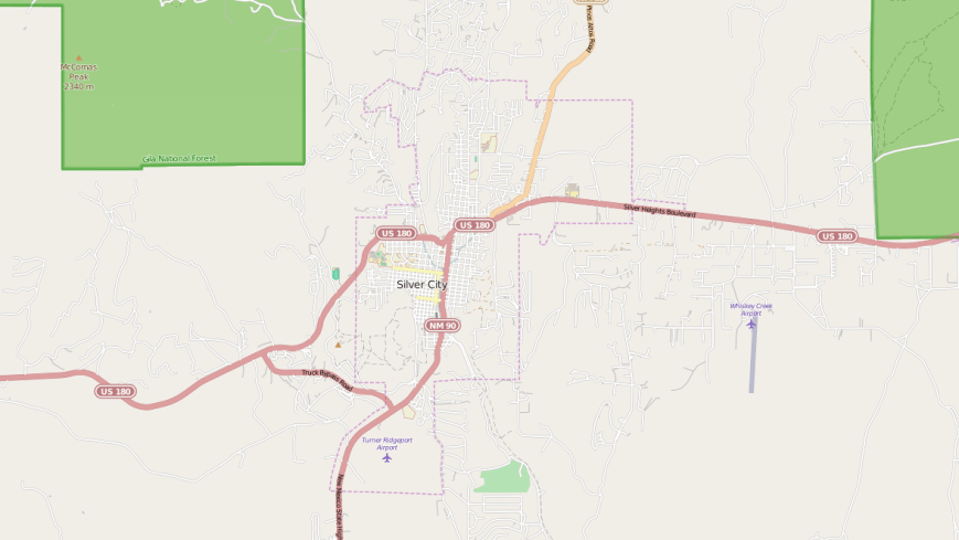 Silver City map courtesy of OpenStreetMaps