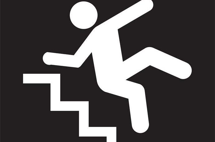 cartoon image of man falling down stairs