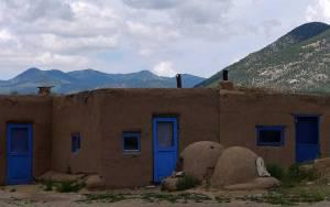 Blue doors in Taos Pueblo