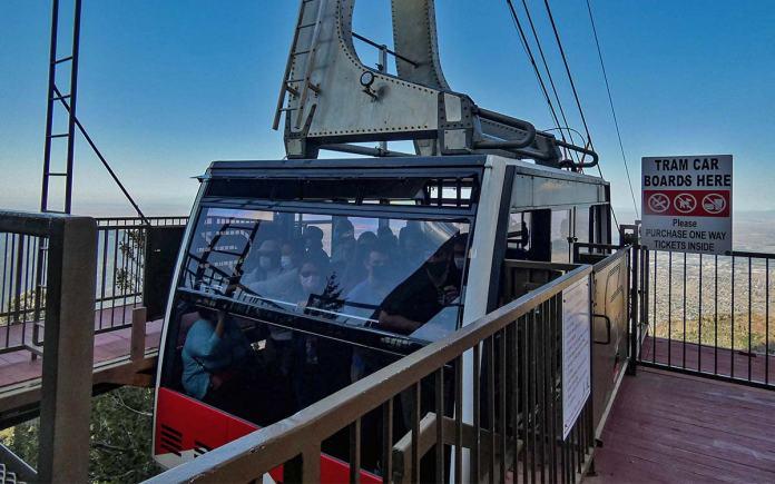 Sandia tram car at the top