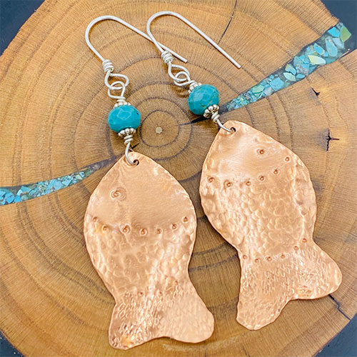 copper fish turquoise earrings