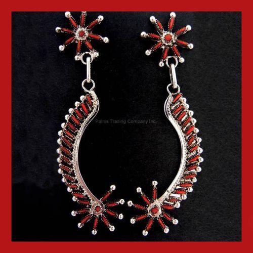 coral needlepoint dangle earrings