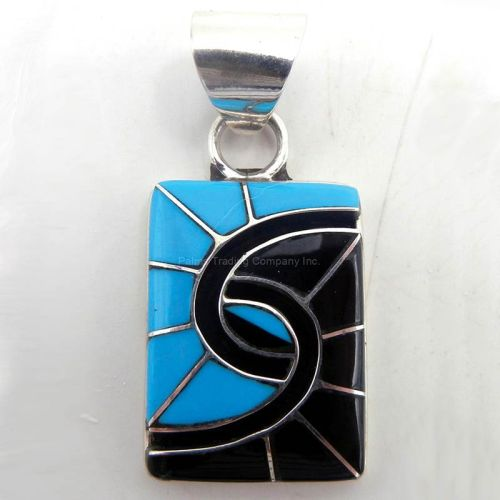 Turquoise, Jet and Sterling Silver Hummingbird Pattern Pendant